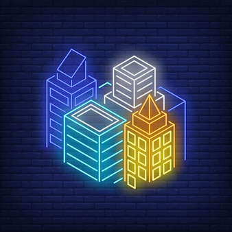 Sinal de néon dos edifícios da metrópole.