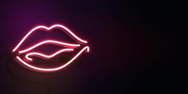 Sinal de néon dos lábios com espaço de cópia