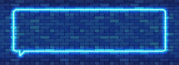 Sinal de néon em forma de moldura retangular. luz de néon brilhante sobre um fundo de parede de tijolo escuro.