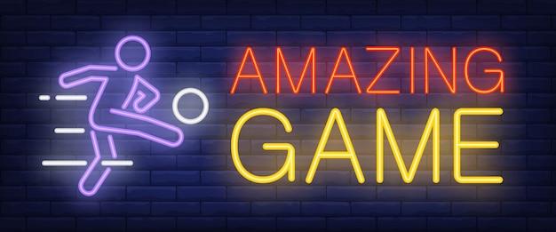 Sinal de néon incrível jogo