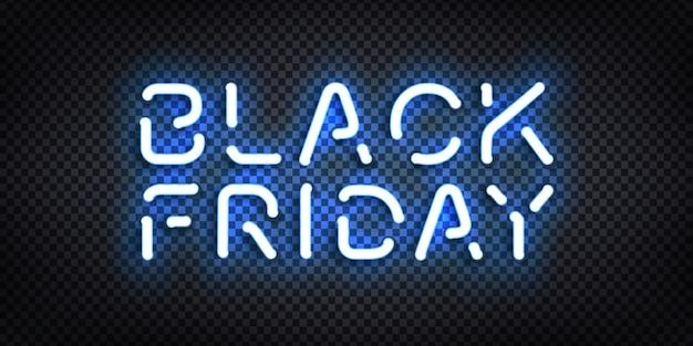 Sinal de néon isolado realista da black friday para decoração de modelo e cobertura de convite no fundo transparente. conceito de venda, oferta especial e desconto.