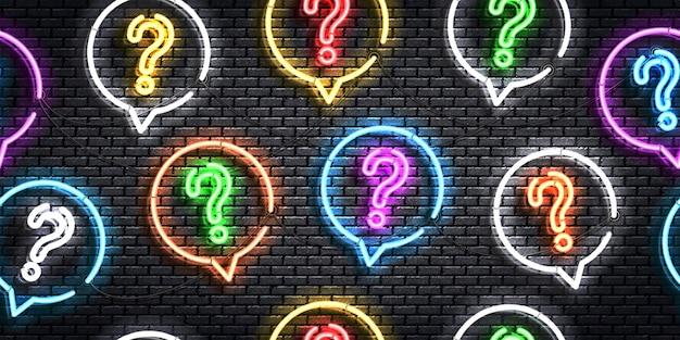 Sinal de néon isolado realista de padrão sem emenda com perguntas.