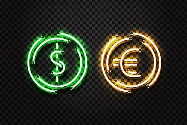 Sinal de néon isolado realista de vetor de moeda de dólar e euro