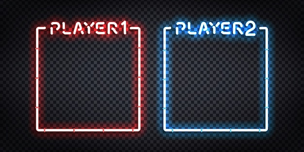 Sinal de néon isolado realista de vetor dos quadros do jogador 1 e do jogador 2 para decoração e cobertura de modelo. conceito de versus e jogos.