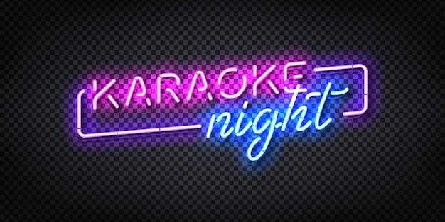 Sinal de néon isolado realista do logotipo da noite de karaokê.
