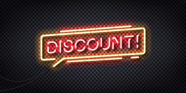 Sinal de néon isolado realista do logotipo de desconto para decoração de modelo e design de convite.