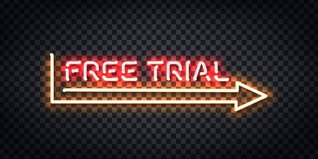 Sinal de néon isolado realista do logotipo do quadro de avaliação gratuita para decoração de modelo e cobertura de layout no fundo transparente.