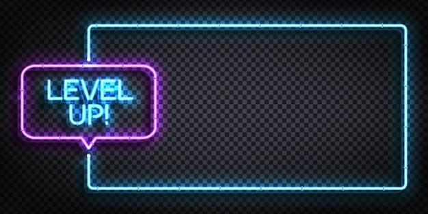 Sinal de néon isolado realista do quadro level up