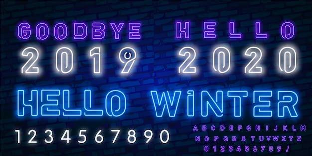 Sinal de neon. olá 2020. adeus 2019 / olá inverno