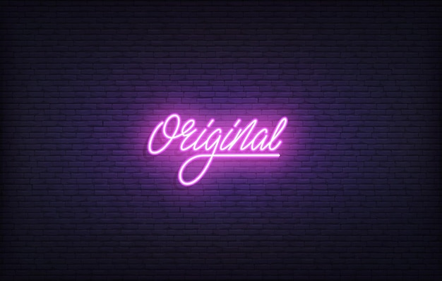 Sinal de néon original. letras de néon brilhante modelo original.
