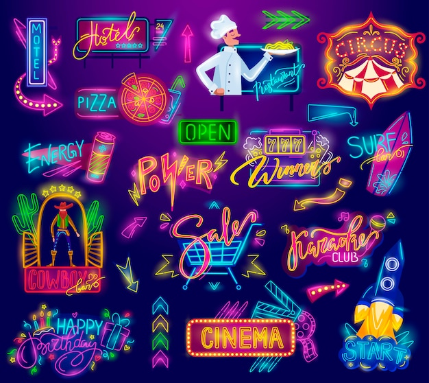 Sinal de néon, outdoor de publicidade vintage retrô, tabuleta brilhante, faixa de luz, quadros dos desenhos animados conjunto de ilustrações.