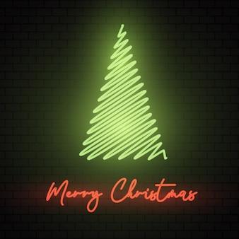 Sinal de néon para árvore de natal