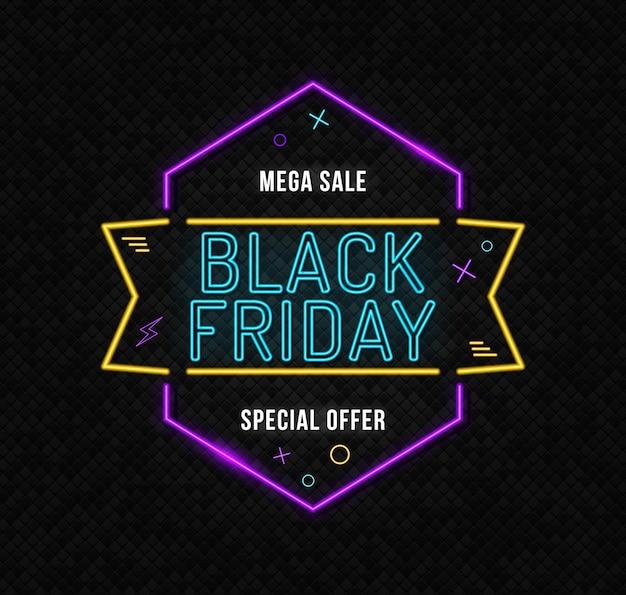 Sinal de néon preto sexta-feira na parede de tijolos sinalização brilhante néon preto sexta-feira tabuleta