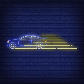 Sinal de néon rápido de condução de carro