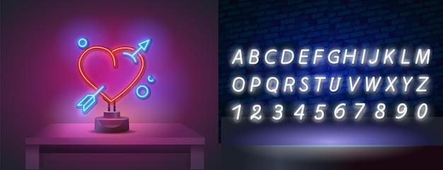 Sinal de néon realista de coração com alfabeto de néon.