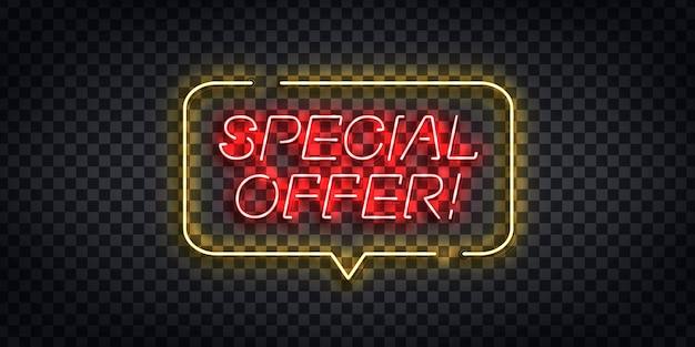 Sinal de néon realista do logotipo de oferta especial para decoração de modelo e cobertura no fundo transparente. conceito de compras online e comércio eletrônico.