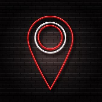 Sinal de néon realista do logotipo do map pin para decoração e cobertura no fundo da parede. conceito de entrega, logística e transporte.