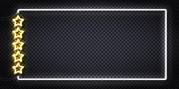 Sinal de néon realista do quadro five stars