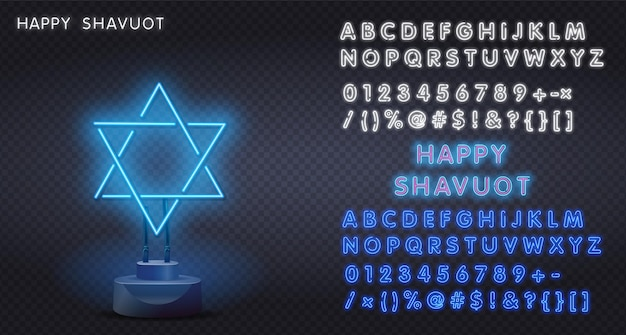 Sinal de néon realista estrela de seis pontas magen david