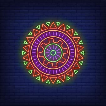 Sinal de néon redondo padrão africano