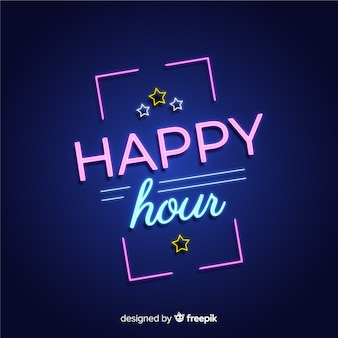 Sinal de néon retangular happy-hour