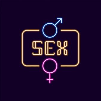 Sinal de néon sexo com ícone de gênero
