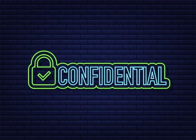 Sinal de néon verde confidencial, isolado em fundo escuro. ícone plano. ilustração vetorial.