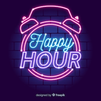 Sinal de néon vintage happy-hour