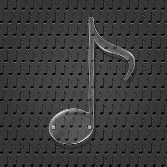 Sinal de nota de música de vidro