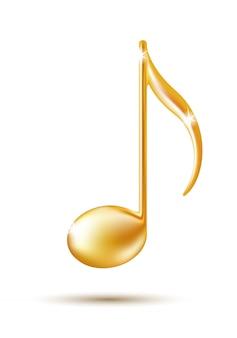 Sinal de nota musical dourada. ícone da música.