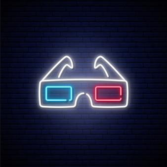 Sinal de óculos 3d de néon.