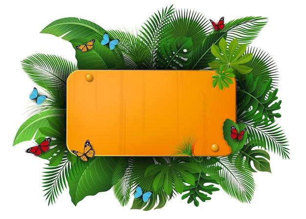 Sinal de ouro com espaço de texto de folhas tropicais e borboletas