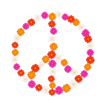 Sinal de pacifista composta de flores gerbera