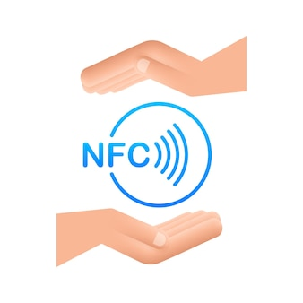 Sinal de pagamento sem fio sem contato no logotipo das mãos. tecnologia nfc. ilustração em vetor das ações.