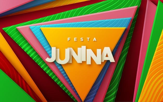 Sinal de papel festa junina em fundo geométrico abstrato com formas triangulares multicoloridas