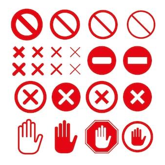 Sinal de parada de proibição definido com diferentes larguras de curso. sem sinal, cancelar ou fechar vetor plano