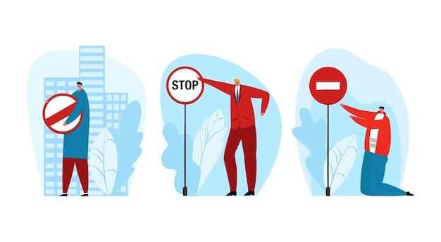 Sinal de parada de restrição, ilustração vetorial. caráter de pessoas homem segura placa de advertência com conjunto de símbolos restritos, plano de cautela para tráfego de automóveis.