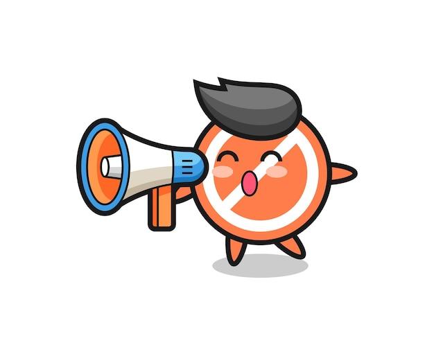 Sinal de parada ilustração de personagem segurando um megafone, design de estilo fofo para camiseta, adesivo, elemento de logotipo