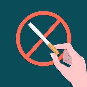 Sinal de parar de fumar ilustrado