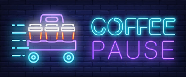 Sinal de pausa de café em estilo néon