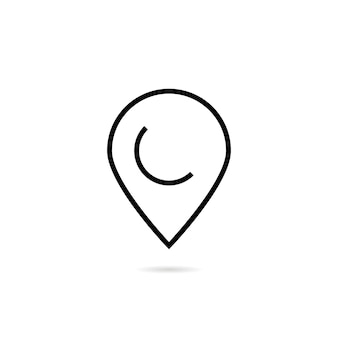 Sinal de pino de linha fina com sombra. conceito de localização, descoberta, geografia, elemento de interface do usuário, interface do usuário mínima. isolado no fundo branco. ilustração em vetor design de logotipo moderno tendência de estilo linear
