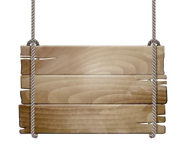 Sinal de placa de madeira vazio pendurado em uma corda isolada no branco.