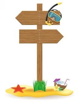 Sinal de placa de ponteiro de madeira e ilustração em vetor elementos praia
