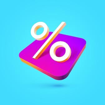 Sinal de porcentagem isolado símbolo de porcentagem colorido