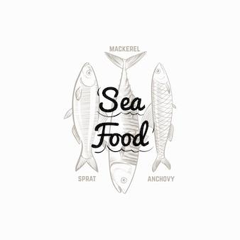 Sinal de produtos de peixe com mão desenhada peixe cavala, espadilha, anchova