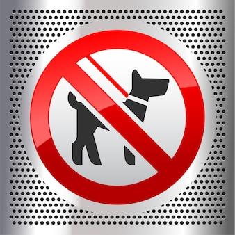 Sinal de proibição de passeio com cachorro, sobre fundo metálico perfurado