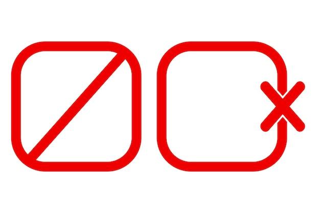 Sinal de proibição em branco de vetor simples de 2 estilos, isolado no branco