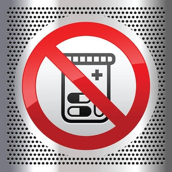 Sinal de proibido com símbolo de comprimidos ou pílulas