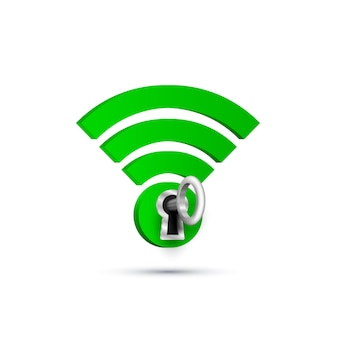 Sinal de proteção da chave wifi em branco