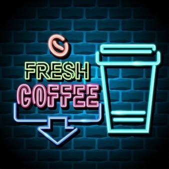 Sinal de publicidade de café fresco